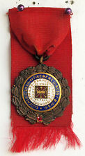 CIRCA 1908 JEWELED/ENAMELED BRONZE MEDAL FIREMENS ASSN TRACK EVENT DIEGES CLUST