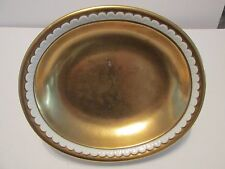 "Vista Alegre GOLD CLAD OVAL SERVING BOWL VA Portugal 9"" White Scallops"
