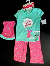 Jumping Beans 6 pajamas & matching doll girl nightgown dog puppy new set