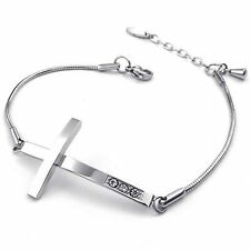 MENDINO Men's Women's Stainless Steel Bracelet Cross Snake Sideways Chain Silver
