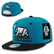 California Republic Bear Teal Blue & Black Flat Bill Snapback Snap Back Cap Hat
