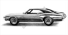 Beautiful 1968 (68) Buick Riviera signed drawing/picture/print (11 x 17)
