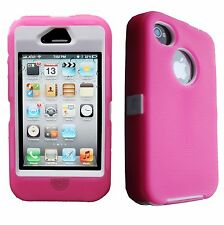 Hybrid Rugged Rubber Shockproof Case Defender Cover Skin For iPhone 4/4s Shell