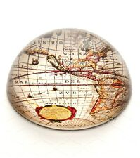 CRYSTAL DOME GLASS VINTAGE MAP PRINT PAPERWEIGHT NEW