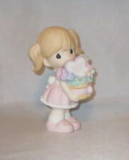 Love You Mom Precious Moments Girl Figurine Basket Heart Flowers Pigtails NWOB