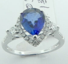 LADIES 18K WHITE GOLD PEAR SHAPED SAPPHIRE DIAMOND RING NEW