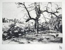 """L.A. DEMANGEON 1909/1979  pointe sèche """"Les bois de Ronquerolles"""""""