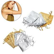 10PCS Gold Silver Stain Jewelry Gift Pouch Wedding  organza Bags 7x9cm SA