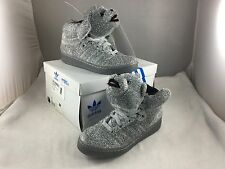 Adidas Jeremy Scott SILVER TEDDY BEAR High Top Sneakers Mens US 11 NIB