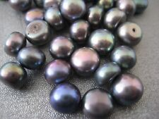 Black Peacock Half Drilled Freshwater Button Pearl Beads 8mm 6pcs