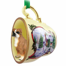 Boxer Dog Christmas Holiday Teacup Ornament Figurine Uncropped