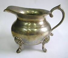 VINTAGE CREAMER PITCHER PRETTY SHELL FOOTED SILVER PLATED EPNS
