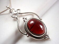 Garnet Pendant Beautifully Accented Cabochon 925 Sterling Silver New 3.5ct