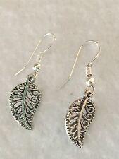 Pretty New Feather / Leaf Dangle Pierced Earrings w/Sterling Silver Ear Wires