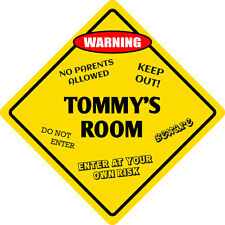 "*Aluminum* Tommy's Room Kids Room Door 12""x12""  Metal Novelty Sign"