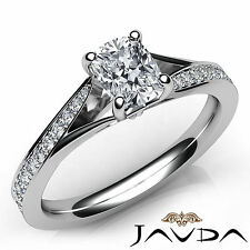 Cushion Diamond Unique Engagement GIA G VVS2 18k White Gold Pave Set Ring 0.68Ct