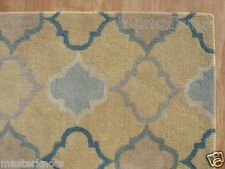 New Scroll Yellow Gold Blue 8' x 10' Handmade 100% Wool Soft Area Rug Carpet