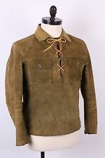 VTG 60S GREEN LEATHER LACE UP WESTERN COAT JACKET SIZE 40