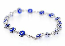 14K White Gold Evil Eye Good Luck Blue Crystal Bracelet
