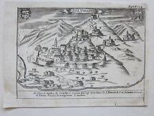 1703 ROCCA D'EVANDRO Giovan Battista Pacichelli acquaforte Caserta Campania
