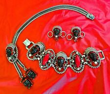 Full Matching Set VTG 50's Selro Selini ASIAN Princess BRACELET NECKLACE EARRING