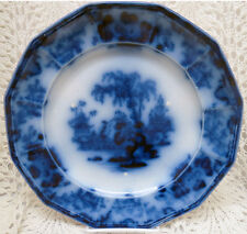"""EARLY FLOW BLUE JOHN AND GEORGE ALCOCK SCINDE 9"""" PLATE"""