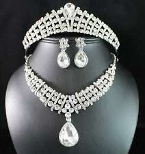 BRIDAL CLEAR AUSTRIAN RHINESTONE CRYSTAL NECKLACE EARRINGS TIARA SET PARTY N1787