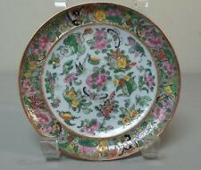 "WONDERFUL 19th C. CHINESE ROSE CANTON PORCELAIN 6 1/4"" GILT DECORATE PLATE"