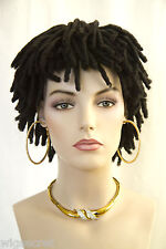Short Black Brown or Auburn Dreadlock Shag Wigs