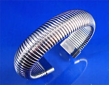 STAINLESS STEEL WIDE RIBBED FLEXIBLE CUFF BANGLE, 7""