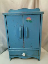 Vtg Handmade wood Child's toy Doll Clothes Wardrobe Dresser Cupboard  display