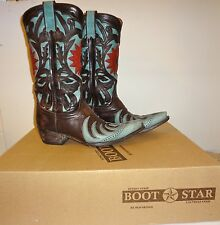 Womens OLD GRINGO BOOT STAR size 7.5 or 7 1/2  turquoise sunflower cowboy boots