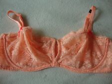 Victoria's Secret 32B unlined demi bra peach lace 3 hooks V cleavage $36 retail