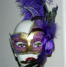 VENETIAN Mardi Gras Masquerade Ball Womens GOLD PURPLE SWAN MASK w/ FEATHERS New