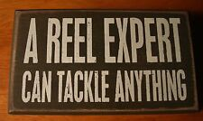 A REEL EXPERT CAN TACKLE ANYTHING Lodge Green Fishing Cabin Home Decor Sign NEW