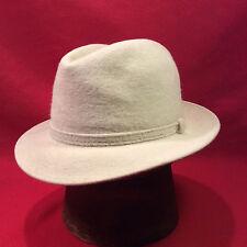 White Dobbs Long Hair Felt Fedora Men's Vintage Hat with White Band