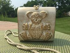 Timmy Woods Teddy Bear Wood Bag Small Purse White Washed Gold 3D Cross Body