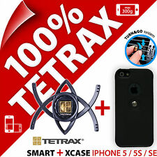 TETRAX Bundle SMART AUTO Vent Holder + Xcase nero per Apple iPhone 5/5s/SE