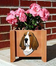 Basset Hound Planter Flower Pot Red White
