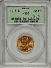 SWITZERLAND REPUBLIC  1915 20 FRANCS GOLD COIN, UNCIRCULATED CERTIFIED PCGS MS66