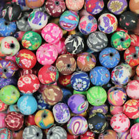 100pcs 10mm Pretty Mixed Polymer Fimo Clay Round Ball Loose Spacer Beads