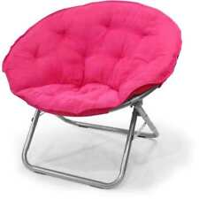 Large Folding Saucer Moon Chair Cozy Round Seat TV Living Room Dorm Den Pink