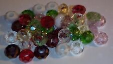 20 Mixed Faceted Glass Beads Large Hole Fit Bracelet UK SELLER Free Post