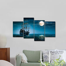 Modern Canvas Print Painting Picture Home Decor Blue Sea Boat Wall Art Framed
