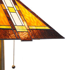 """Tiffany Style Stained Glass Mission Floor Lamp 2 Light 16"""" Shade"""
