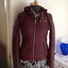 LADIES BURGUNDY Vegan CI SONO By Cavalini Leather Bikers Jacket Fur LINED Size M