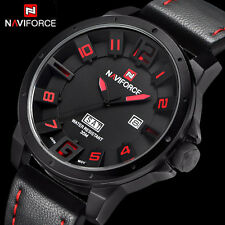 Naviforce Mens 3D Black Red Date Day Military Quartz Sport Wrist Watch + Box