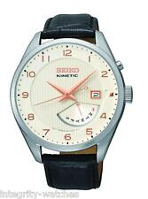 New Seiko SRN049 Kinetic White Dial Day/Date Leather Strap Men's Watch