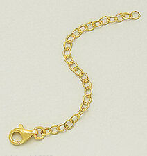"1micron 18k Yellow Gold Over Sterling Silver 3"" Chain Necklace Bracelet Extender"
