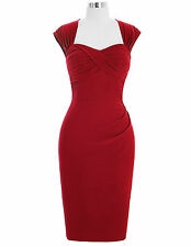Belle Poque 1940' 50's Retro Vintage Style Halterneck Pin Up Fitted Pencil Dress
